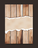Vector grunge paper on wooden wall. Grunge paper on wooden wall, Vector illustration design in A4 size  Image trace of wooden background Stock Photography