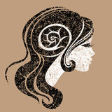 Vector grunge portrait of woman with long hair. (From my big Vintage woman collection royalty free illustration