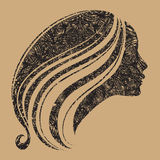Vector grunge portrait of woman with long hair Royalty Free Stock Photo
