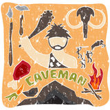 Vector grunge poster of paleo  and caveman theme Royalty Free Stock Photography