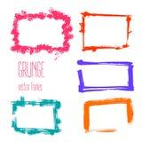Vector grunge rectangle frames. Hand drawn art collection. Stock Photos