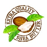 Vector grunge rubber stamp extra quality shea butter on a white background. Shea nuts, butter and green leaves leaves stamp icon stock illustration