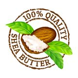 Vector grunge rubber stamp 100 quality shea butter on a white background. royalty free illustration