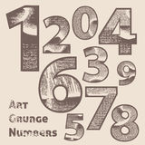 Vector grunge scratched numbers Royalty Free Stock Photos