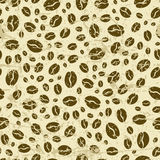 Vector grunge seamless pattern with coffee beans. Royalty Free Stock Photography