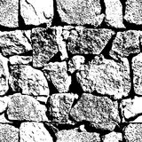 Vector grunge seamless texture. Abstract black and white stone wall background. Stock Photos