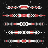 Vector grunge set of decorative ethnic borders with american indian motifs Royalty Free Stock Image