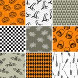 Vector grunge set of halloween seamless patterns Royalty Free Stock Image