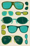 Vector grunge set of retro glasses. Glasses background. Stock Image