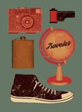 Vector grunge set of retro things for traveler. Vector illustration. Stock Photo