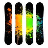Vector grunge snowboard set Stock Photo