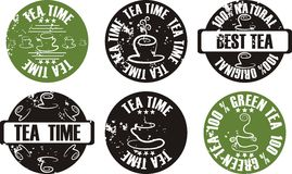 Vector grunge tea stamp set Stock Photos