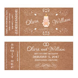 Vector Grunge Ticket for Wedding Invitation with burning candle Stock Photo