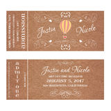 Vector Grunge Ticket for Wedding Invitation with Montgolfier. Vector Grunge Double Sided Ticket for Wedding Invitation and Save the Date with Montgolfier and Royalty Free Stock Photography