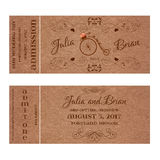 Vector Grunge Ticket for Wedding Invitation with retro bicycle Royalty Free Stock Images