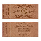 Vector Grunge Ticket for Wedding Invitation with steering wheel Royalty Free Stock Images
