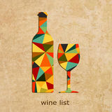 Vector grunge Wine list design. Wine shop logo Royalty Free Stock Photography