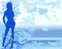 Vector Grunge woman. With flowing hair, sparkling snowflakes, foliage, stars. In blues and white Royalty Free Stock Image