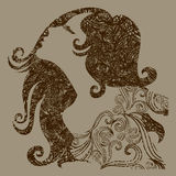 Vector grungemeisje met mooi haar Royalty-vrije Stock Afbeeldingen