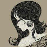 Vector grungemeisje met mooi haar Stock Afbeeldingen