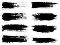 Vector grungy black paint hand made brush stroke. Vector collection of artistic grungy black paint hand made creative brush stroke set isolated on white Royalty Free Stock Photos