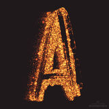 Vector Grungy Font 001. Letter A. Abstract bright golden shimmer glowing round particles vector background. Scatter shine tinsel light effect. Hand made grunge Royalty Free Stock Photography
