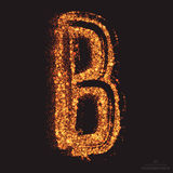 Vector Grungy Font 001. Letter B. Abstract bright golden shimmer glowing round particles vector background. Scatter shine tinsel light effect. Hand made grunge Royalty Free Stock Image