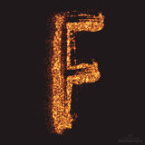 Vector Grungy Font 001. Letter F. Abstract bright golden shimmer glowing round particles vector background. Scatter shine tinsel light effect. Hand made grunge Royalty Free Stock Photography