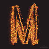 Vector Grungy Font 001. Letter M. Abstract bright golden shimmer glowing round particles vector background. Scatter shine tinsel light effect. Hand made grunge Royalty Free Stock Photos