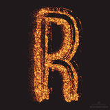 Vector Grungy Font 001. Letter R. Abstract bright golden shimmer glowing round particles vector background. Scatter shine tinsel light effect. Hand made grunge Royalty Free Stock Photos