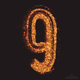 Vector Grungy Font 001. Number 9 Stock Photography