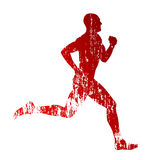 Vector grungy runner. Vector silhouette of grungy runner Royalty Free Stock Photo