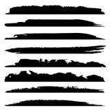 Vector grungy zwarte verfhand - de gemaakte creatieve reeks van de borstelslag royalty-vrije illustratie