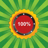 Vector guarantee label. In green color royalty free illustration