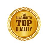 Vector Guaranteed Top Quality Gold Sign, Round Label Royalty Free Stock Image
