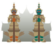 Vector of guardian giant. With temple background Royalty Free Stock Photo