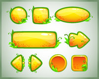 Vector GUI set. Funny cartoon yellow game assets with nature elements, GUI set royalty free illustration