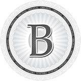 Vector Guilloche Pattern Rosette with letter B. Monetary banknot Stock Photo