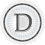 Vector Guilloche Pattern Rosette with letter D. Monetary banknot Stock Photo