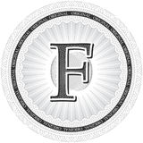 Vector Guilloche Pattern Rosette with letter F. Monetary banknot Stock Photo