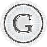 Vector Guilloche Pattern Rosette with letter G. Monetary banknot Stock Image