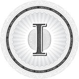 Vector Guilloche Pattern Rosette with letter I. Monetary banknot Royalty Free Stock Photography