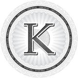 Vector Guilloche Pattern Rosette with letter K. Monetary banknot Royalty Free Stock Photos