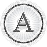 Vector Guilloche Pattern Rosette with letter A. Monetary banknot Stock Photography