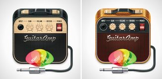 Vector guitar amplifier with picks and jack connec stock illustration