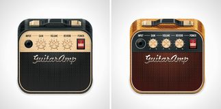 Vector guitar amplifier square XXL icon stock illustration