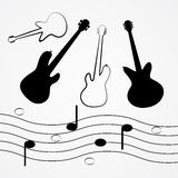 Vector Guitar, Bass, Staff, Notes. Black Outlines and Silhouette Royalty Free Illustration