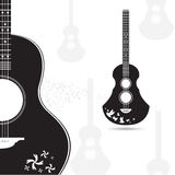 Vector guitar black gray on white background Royalty Free Stock Photography
