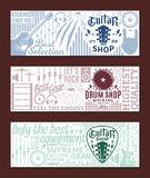 Vector guitar and drum shop banner set. Music icons for audio store, recording studio label, poster or branding vector illustration