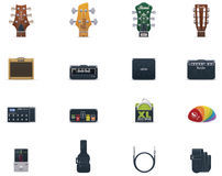 Vector guitar equipment icon set. Set of the guitar equipment and accessories related icons Royalty Free Stock Images
